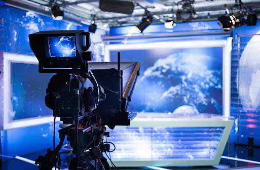 Video camera - recording show in TV studio 503592110