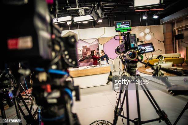 video cameras on a television set - stage set stock pictures, royalty-free photos & images