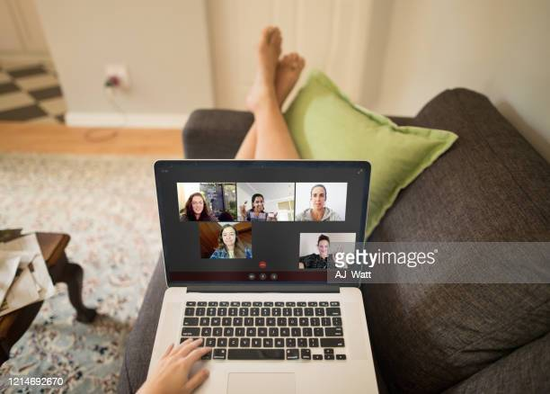 video chatting makes social distancing easier - facetime stock pictures, royalty-free photos & images