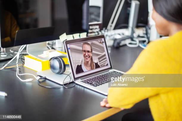 video conference at office - webinar stock photos and pictures