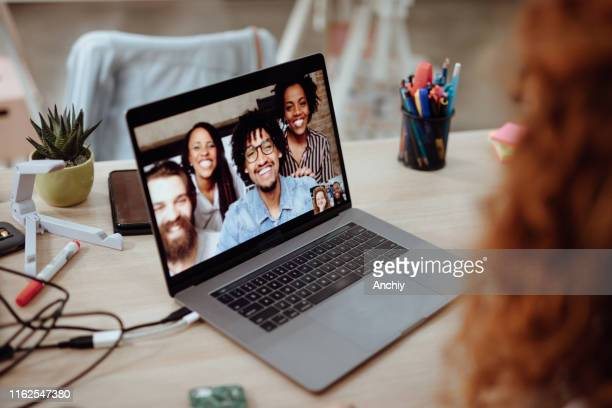 video conference meeting - employee engagement stock pictures, royalty-free photos & images