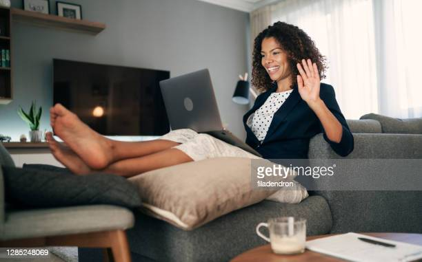 video conference - pyjamas stock pictures, royalty-free photos & images