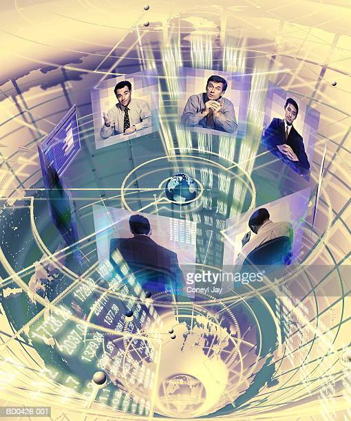 Video conference,male executives on screens circling globe (Composite)