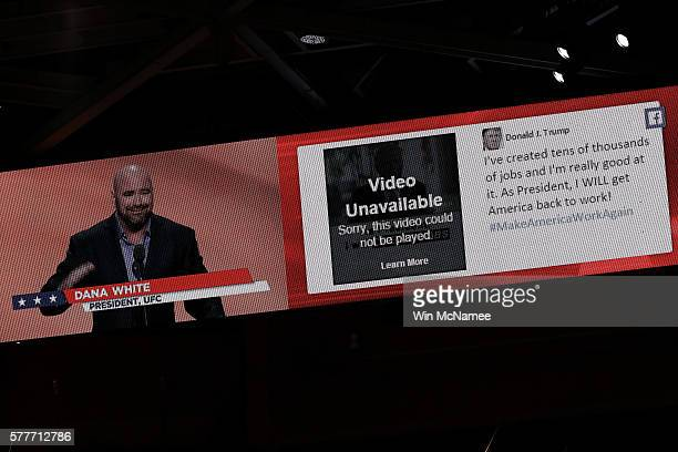 A video displays UFC President Dana White and Video Unavailable during his speech on the second day of the Republican National Convention on July 19...
