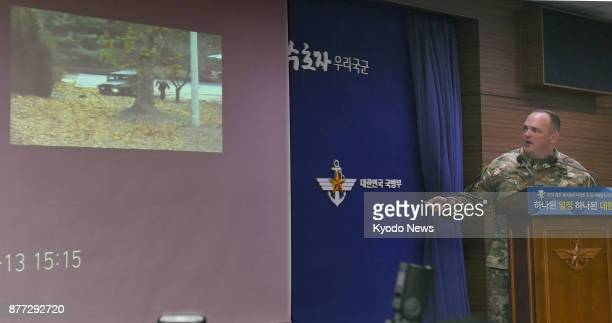 Video footage of a North Korean soldier crossing the Military Demarcation Line dividing the two Koreas in pursuit of a defector on Nov 22 is shown at...
