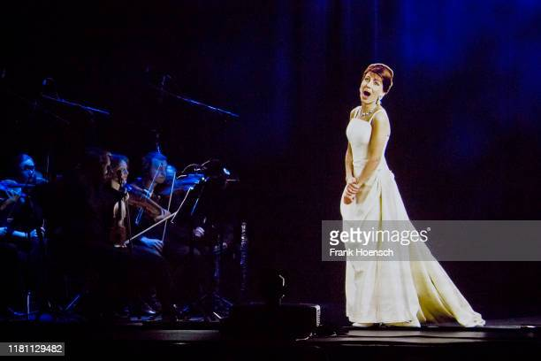 Video frame grab shows the hologram of Maria Callas gesturing on stage during an hologram-concert at the Admiralspalast on November 9, 2019 in...