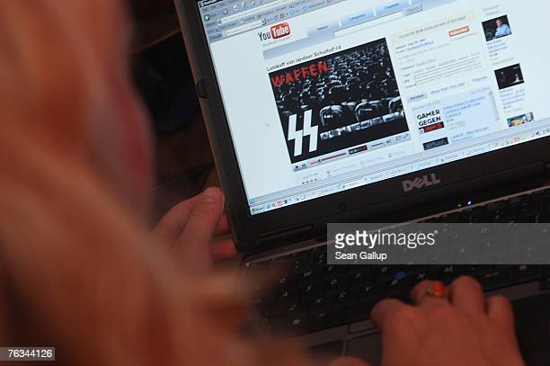 Video from the German neo-Nazi music band Lunikoff is seen on the website of YouTube August 27, 2007 in Berlin, Germany. German government officials...