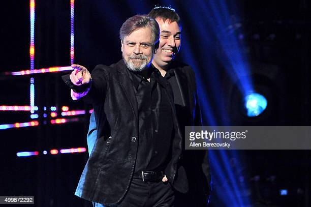 Video game designer Chris Roberts and actor Mark Hamill speak onstage during The Game Awards 2015 at Microsoft Theater on December 3 2015 in Los...
