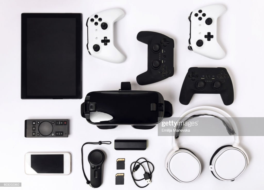 Video game gadgets on white background : Stock Photo