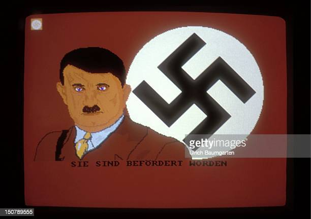 Video game KZ Manager Screen with cartoon of Adolf Hitler in front of swastika