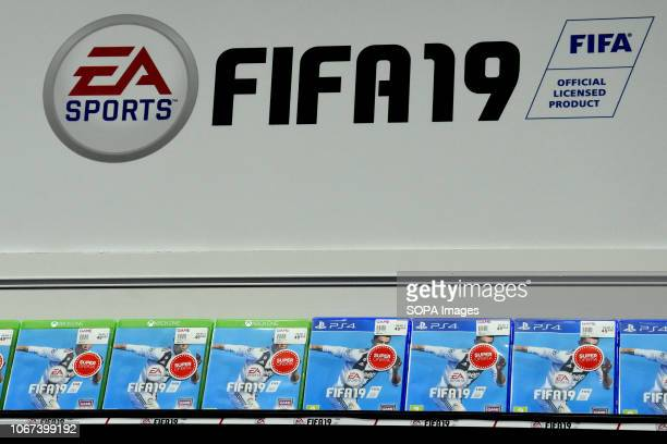 FIFA 2019 video game sign seen during the Barcelona Games World Fair