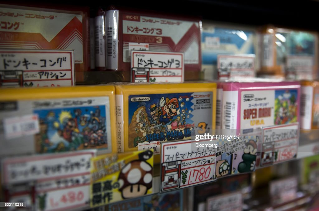 Video games cartridges for the Nintendo Co. Nintendo Entertainment System (NES)/Famicom console are displayed for sale at the Super Potato video game store in the Akihabara district of Tokyo, Japan, on Tuesday, Aug. 8, 2017. Renewed interest in vintage Japanese videogamesis drawing buyers to the country'sonline markets and retro gaming shops. Photographer: Tomohiro Ohsumi/Bloomberg via Getty Images