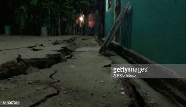 A video grab made from AFPTV footage shows damage to a building in Minatitlan Mexico on September 8 2017 after a powerful 82magnitude earthquake...