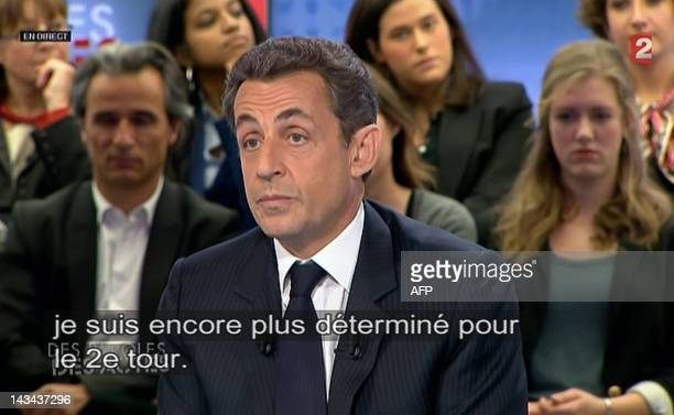 A video grab made on April 26 2012 shows France's incumbent president and Union for a Popular Movement party candidate for the French 2012...