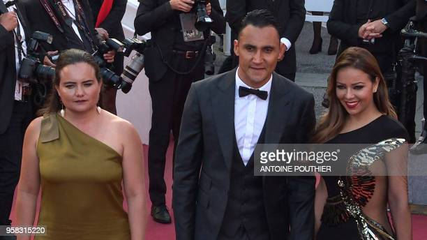 A video grab made on May 13 2018 shows Costa Rican director Dinga Haines Real Madrid's Costa Rican goalkeeper Keylor Navas and his wife Andrea Salas...