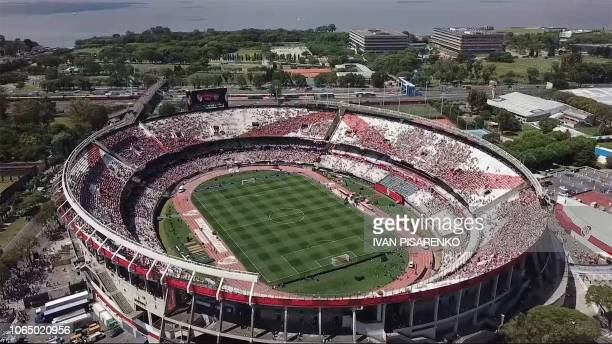 Video grab showing an aerial view of the Monumental stadium in Buenos Aires taken before the allArgentine Copa Libertadores second leg final match...