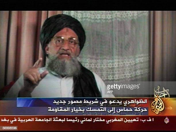 A video grab taken 04 March 2006 from a video broadcast by Arab satellite channel alJazeera television shows deputy leader of AlQaeda Ayman...