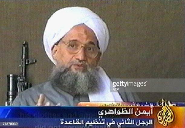 Video grab taken 06 July 2006 from the pan-Arab satellite television network al-Jazeera shows al-Qaeda second-in-command Ayman al-Zawahri. In this...