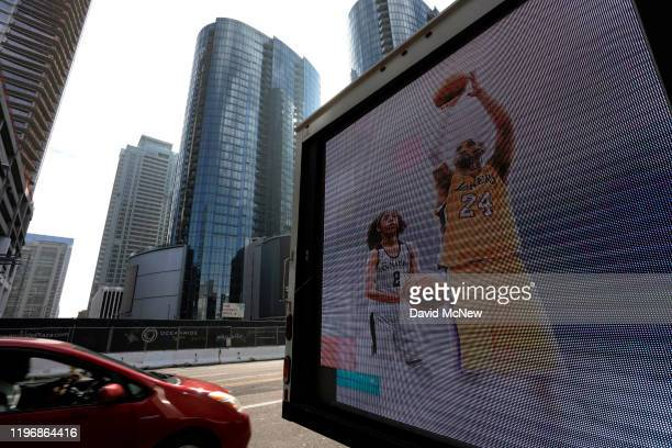 A video image on a truck memorializes former NBA star Kobe Bryant and his daughter Gigi who were killed in a helicopter crash in Calabasas California...