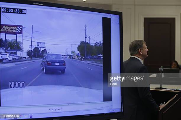Video is played in court during the murder trial of former North Charleston police officer Michael Slager at the Charleston County court November 17,...