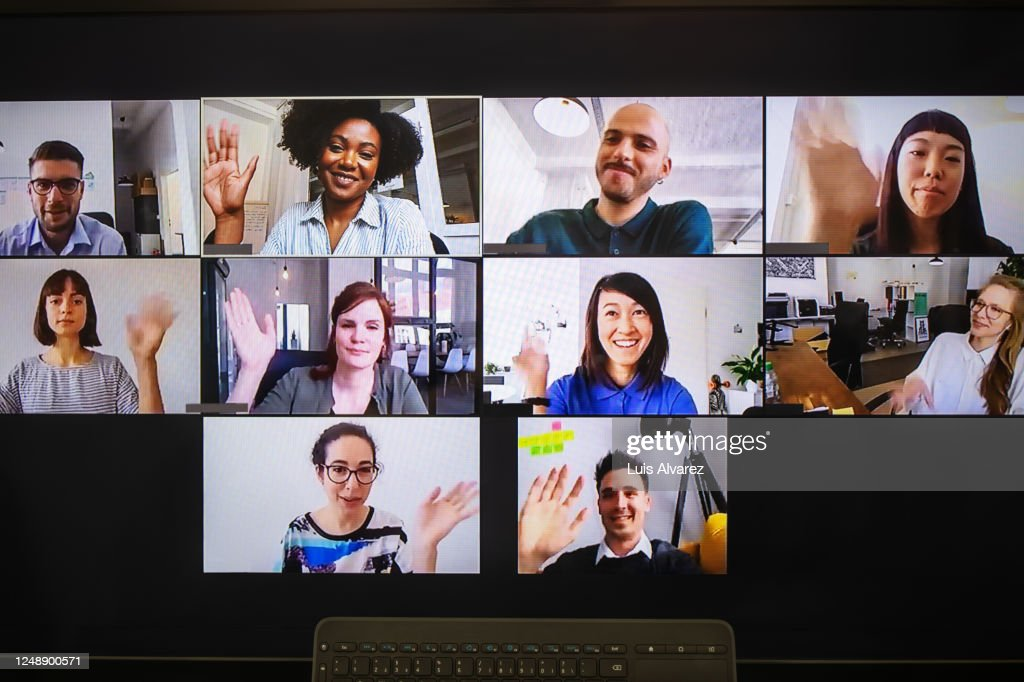 Video meeting on desktop screen : Stock-Foto