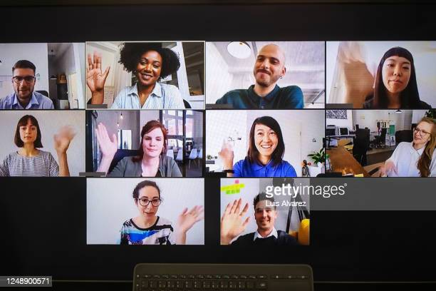 video meeting on desktop screen - multi ethnic group stock pictures, royalty-free photos & images