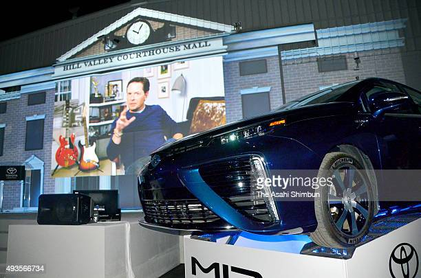 A video message of Michael J Fox is displayed during Toyota Motor Co's fuelcell vehicle Mirai's US launching event on October 20 2015 in Hollywood...