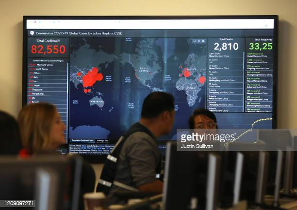 A video monitor inside the Medical Health and Coordination Center at the California Department of Public Health shows the number of Coronavirus...