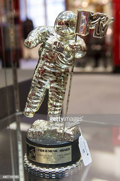 Video Music Award presented to Robbie Williams engraved 'European Viewers Choice Winner Robbie Williams Take That 'Babe' is seen at the press review...