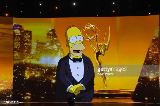 A video of Homer Simpson speaking is projected on a video screen during the 71st Emmy Awards at Microsoft Theater on September 22 2019 in Los Angeles...