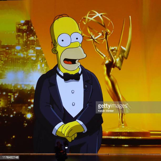 A video of Homer Simpson speaking is projected on a video screen during the 71st Emmy Awards on September 22 2019 in Los Angeles California