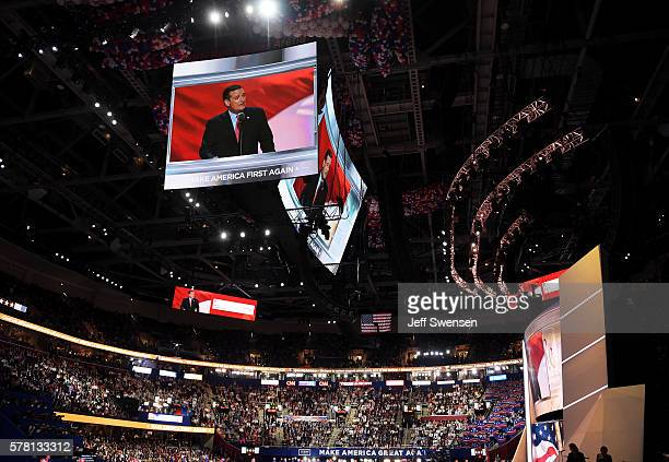 A video of Sen Ted Cruz delivering a speech is projected to the audience on the third day of the Republican National Convention on July 20 2016 at...