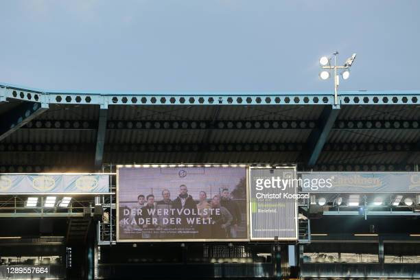 """Video of the """"Danke ans Ehrenamt"""" action, a thank you to all the volunteers and honorary workers in Sport, is seen on the scoreboard prior to the..."""
