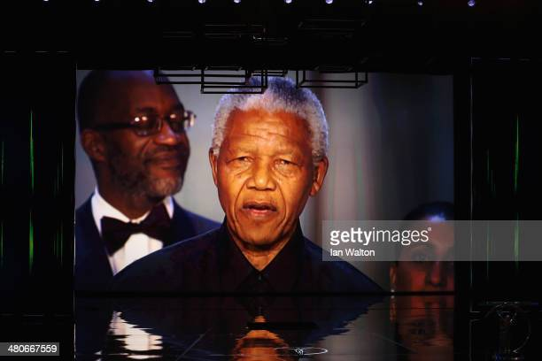 A video of the late Nelson Mandela is shown during the 2014 Laureus World Sports Award show at the Istana Budaya Theatre on March 26 2014 in Kuala...