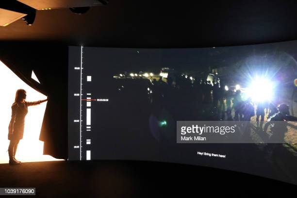 A video piece by artist Forensic Architecture screens during the Turner Prize 2018 Photocall held at Tate Britian on September 24 2018 in London...