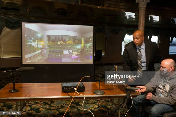 A video presented by attorney James Bible is shown to family friends and the media during a press conference at the Emerald Queen Riverboat Casino on...