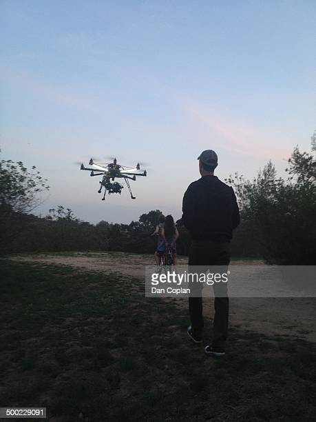 Video production at sunset with an octocopter