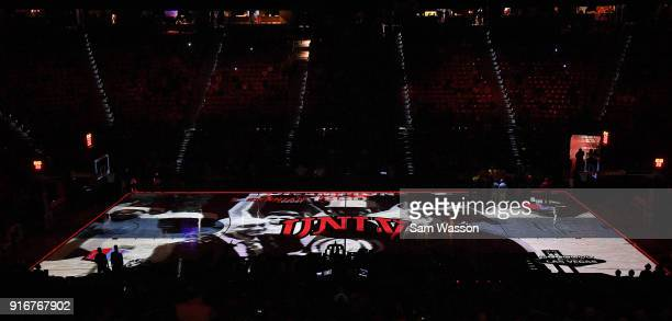 A 3D video projection map is shown on the court before a game between the UNLV Rebels and the Wyoming Cowboys at the Thomas Mack Center on February...