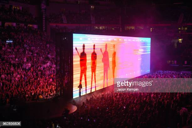 A video projection of the rock band U2 is seen at Bridgestone Arena on May 26 2018 in Nashville Tennessee