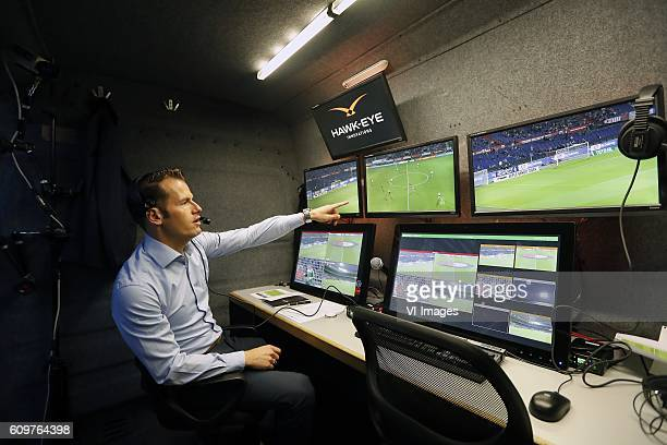 video referee Danny Makkelie HawkEye system during the First Round Dutch Cup match between Feyenoord Rotterdam and FC Oss at the Kuip on September 22...