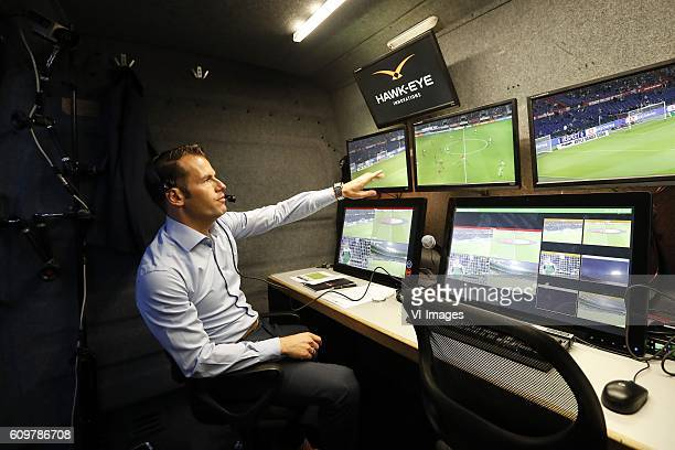 video referee Danny Makkelie HawkEye system hawk eye technology during the First Round Dutch Cup match between Feyenoord Rotterdam and FC Oss at the...