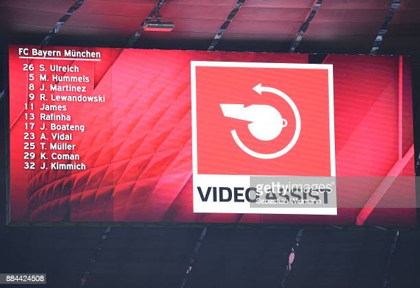 Video referee displayed during the Bundesliga match between FC Bayern Muenchen and Hannover 96 at Allianz Arena on December 2 2017 in Munich Germany