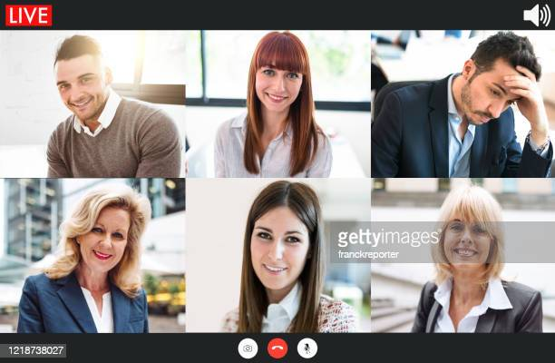 video screen of multi conference voip call - video still stock pictures, royalty-free photos & images