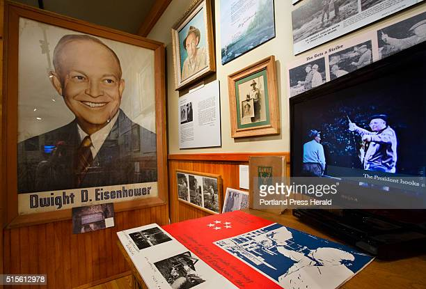 A video showin President Dwight D Eisenhower holding a fish he caught in the Rangeley area with Gide Don Cameron plays as part of an exhibit...