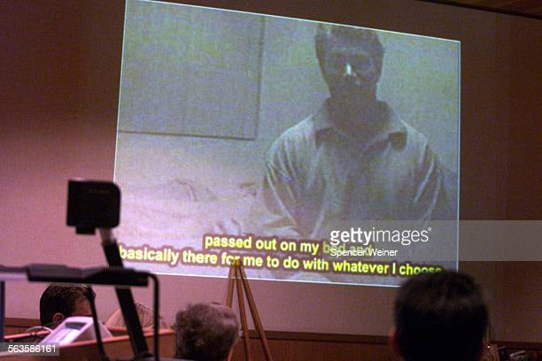 A video tape which shows alledged rapist Andrew Luster is projected on the courtroom during the opening remarks at the start of trial in Ventura...