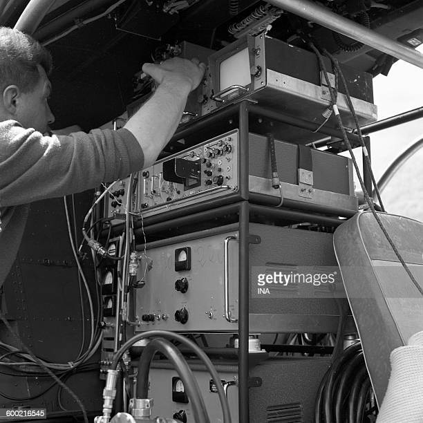 Video technician verifying the material installed in the technical bay, for the live of the Tour in Luchon.