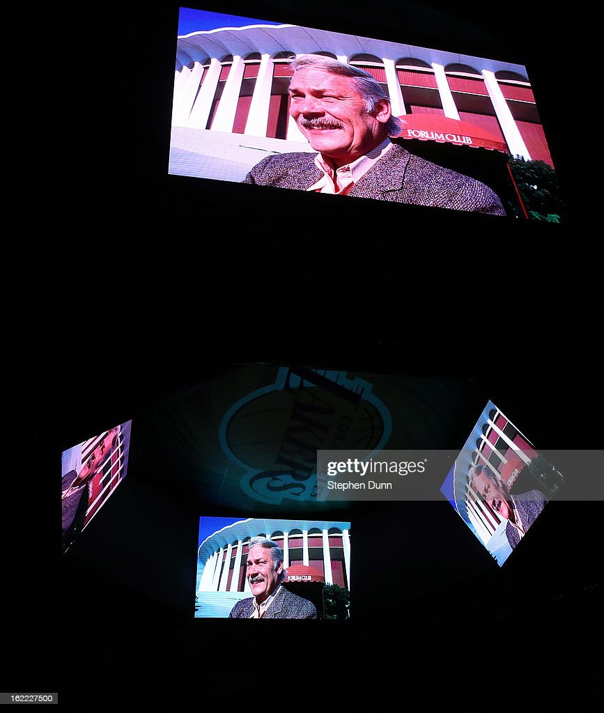 A video tribute onoring Lakers late owner Dr. Jerry Buss is displayed before the game with the Boston Celtics at Staples Center on February 20, 2013 in Los Angeles, California.