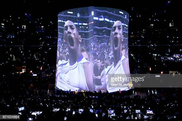 A video tribute to Kobe Bryant of the Los Angeles Lakers is seen before the Lakers take on the Utah Jazz in Bryant's last NBA game at Staples Center...