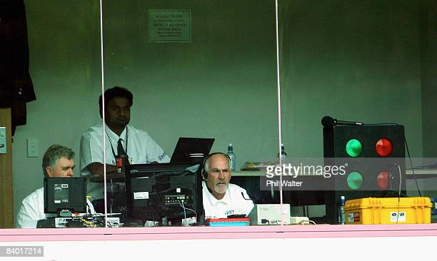 Video umpire Rudi Koertzen rules on a decision during day three of the First Test match between New Zealand and the West Indies at University Oval on...