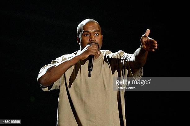 Video Vanguard Award winner Kanye West speaks onstage during the 2015 MTV Video Music Awards at Microsoft Theater on August 30 2015 in Los Angeles...